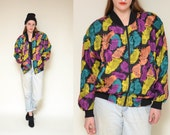 90s NEON LEAF printed silk bomber jacket // zip up iridescent colorful novelty printehipster grunge club kid lightweight spring jacket
