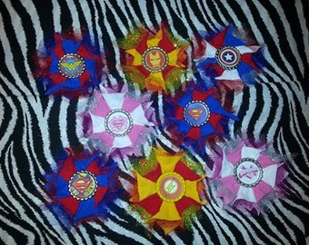 Cosplay Comic Super Heroes Glitter Tulle Bows, Magnets, Clips, Ornaments  Pins Superman Supergirl Captain America Ironman The Flash