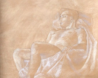 "Pastel Figure Drawing, Original Artwork, 19x25"", nude, wall art"