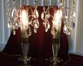 Vintage Crystal Waterfall and Brass  Lamps. Pair of Waterfall Crystal Vanity Lamps