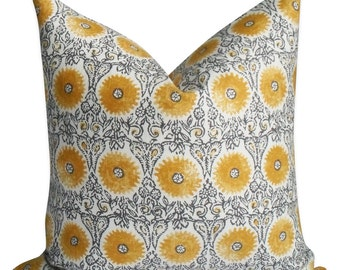 Duralee Modern Pillow Twist on Floral in Grey and Yellow- Invisible Zipper - 18x18, 20x20, 22x22 and lumbar sizes - Same Fabric BOTH sides