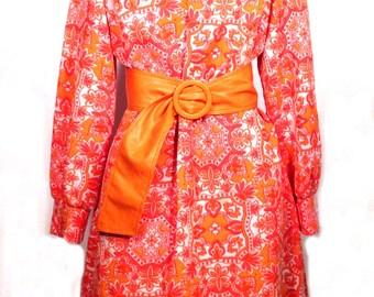Vintage 1960s Mod Dress Bleeker Street Polyester Neon Floral Pink Orange White Fluorescent Floral Union Label Retro Groovy Psychedelic Sz L