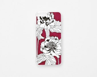 iPhone 6 Case - Floral iPhone Case - iPhone 6s Case - Peonies Illustration iPhone Case - Hard Plastic or Rubber