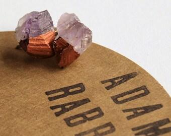 Bronze & Raw Amethyst Chunk Earrings, Geo Earrings, Rock Stud Earrings, Crystal Earrings