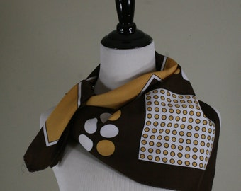 1970s Polka Dots and Squares Square Scarf