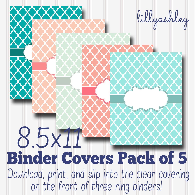 Printable Binder Covers Set Of 5 Pastel
