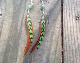 Green Agate Stone Feather Earrings