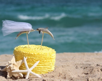 Dolphin Wedding Beach Cake Topper - Mr & Mrs Dolphin - - Beach Chic Wedding