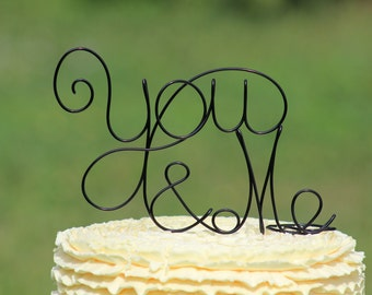 Black You and Me Wire wedding Cake Toppers - Decoration - Beach wedding - Bridal Shower - Bride and Groom - Rustic Country Chic Wedding