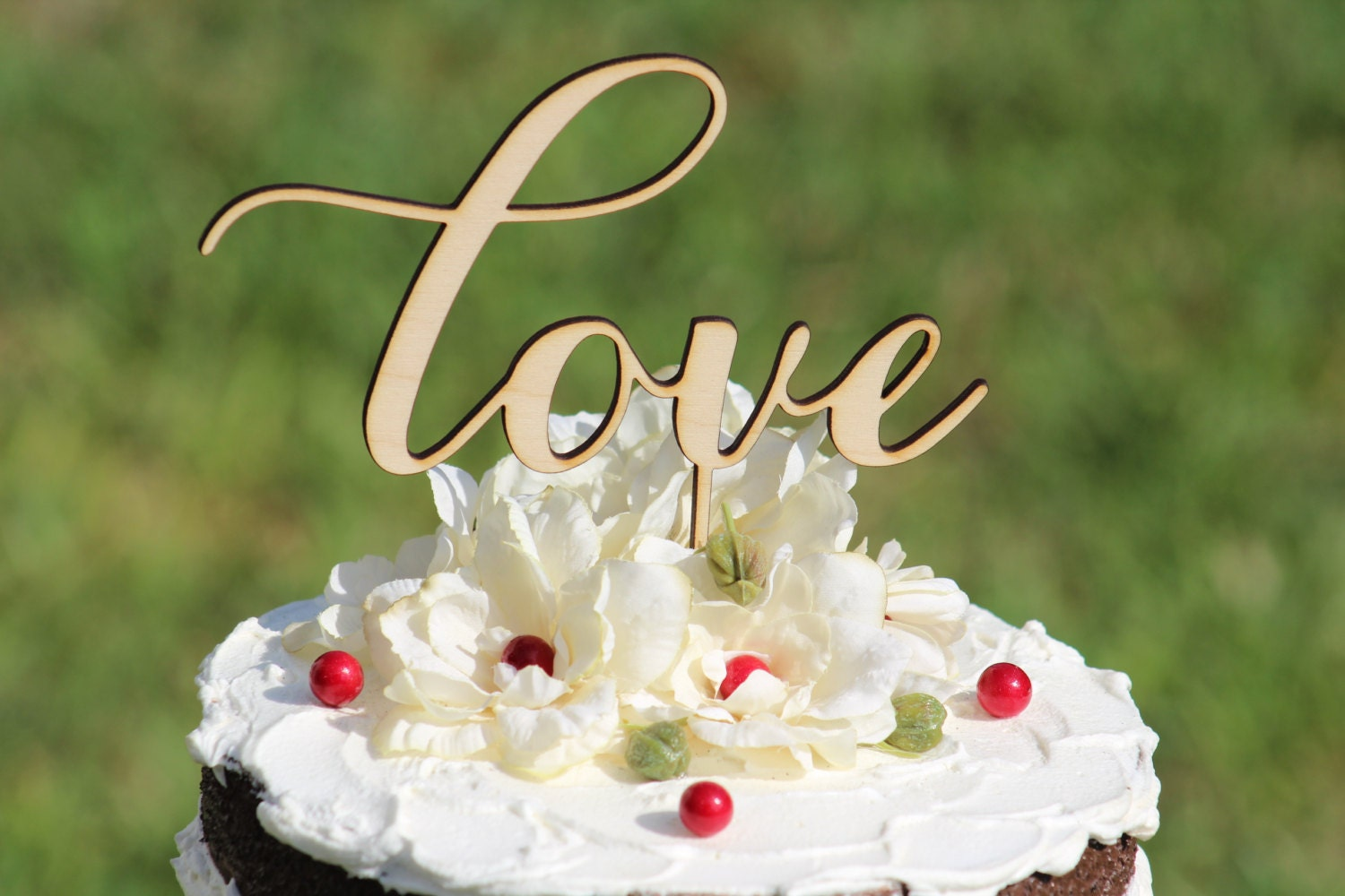 Rustic LOVE Wedding Cake Topper Wooden Cake Topper