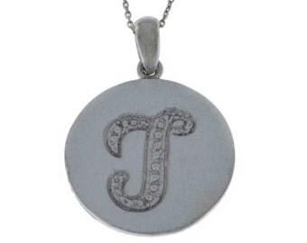 Letter T Pendant .925 Sterling Silver Rhodium Finish