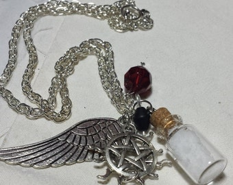 READY TO SHIP Supernatural Jewelry - Sam, Castiel, and Dean Winchester Protection Necklace