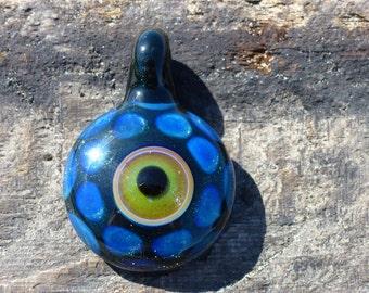 Secret Eye Pendy - Glass Evil Eye / Galaxy Lampwork Pendant Necklace