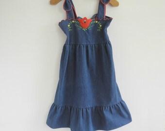 Vintage Tulip Denim Dress Girls size 10