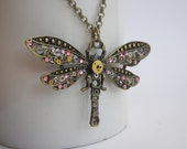 Steampunk Dragonfly necklace. Gunmetal/Rose Pink.