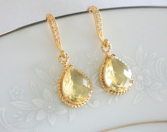 Yellow Bridesmaid Earrings, Yellow Bridesmaid Jewelry Set, Crystal Earrings Bridal Earrings Yellow Earrings