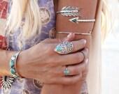 Arm Cuff, Upper Arm Bracelet, Turquoise, Sterling Armlet, Sterling Arrow, Body Jewelry, Gypsy Bracelet, Wanderlust Jewelry, Bohemian Jewelry