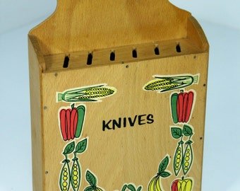 Vintage Mid-Century Modern Wooden Wall Knife Holder Box By Nevco Kitschy Cute Veggies Vegetables Decals Hanging Knife Block Storage