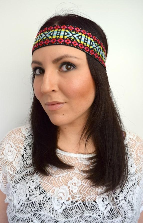 Wide Hippie Headband Tribal Headband Native by ...