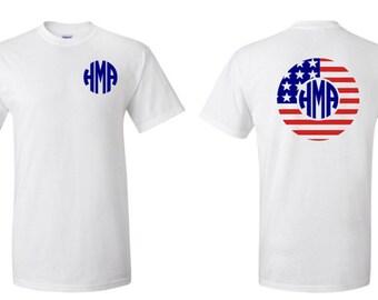 Chevron American Flag Monogram T-Shirt, July 4th, America, Monogram, Patriotic, Summer
