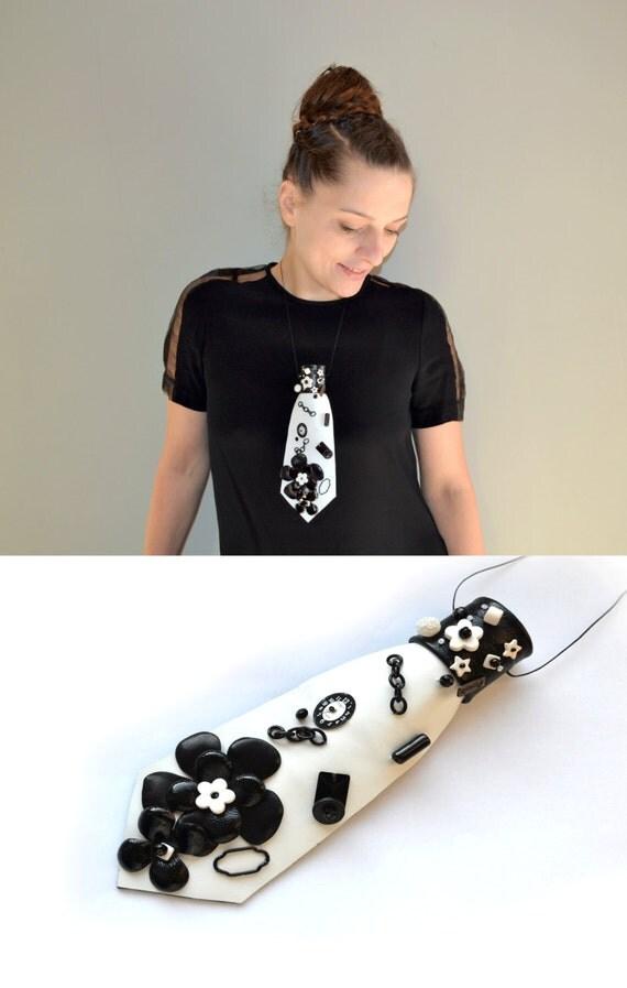 Woman Necktie-necklace, black, white, OOAK, floral, handmade, appliqued, natural leather, eccentric accessory, necktie-jewelry