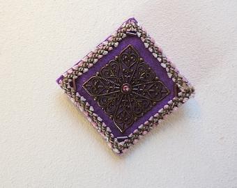 CLEARANCE SALE  Purple Brooch - Unique Brooch - Mixed Media Brooch. Square Brooch. Handmade Brooch.  Ooak Brooch.  REDUCED