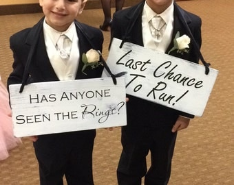 Wedding Signs, Last Chance to Run! | Wooden  - 7in x 16in  | Wedding Decoration, Ceremony Sign, Ring Barer Sign, Wedding Singage, Rustic