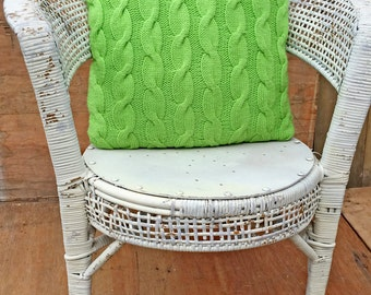 rustic white wicker chair, , solid white seat (contact us for delivery quote)