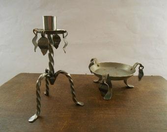 Vintage gray iron candle holder Set of 2 handmade candle holders with leaf pendants Swedish design candle holder