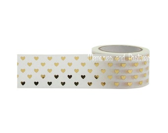 Gold Hearts Washi Tape - 25mm - Scrapbooking Embellishment Gift Wrapping - Little B - 120269