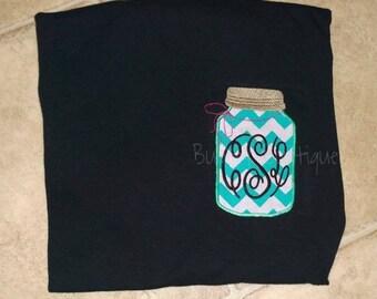 Ladies Embroidered Chevron Mason Jar Monogram Shirt for christmas gift / birthday / southern / fall