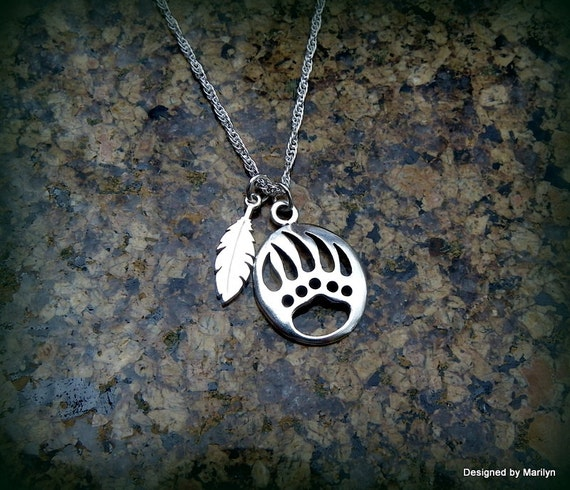 Sterling silver bear claw and feather necklace, pow wow, spirit of the bear, bear jewelry