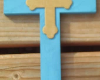 Calypso Blue Large Cross with Smaller Gold Cross