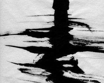 "Figure Water Ink Drawing Haunting Gothic Dark Shadow Silhouette Fine Art ""Dissolve No. 4"""