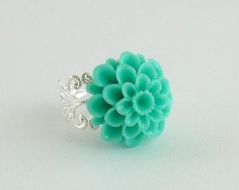 Aqua Chrysanthemum Flower Ring, Aqua Flower Ring, Silver Filigree Ring Adjustable Flower Ring, Mum Flower, Vintage Inspired,