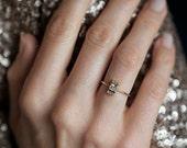 Princess Diamond Ring, Princess Cut Engagement Ring, Diamond Engagement Ring With Pave Diamonds, 0.25 Carat Diamond Ring, 18k Solid Gold