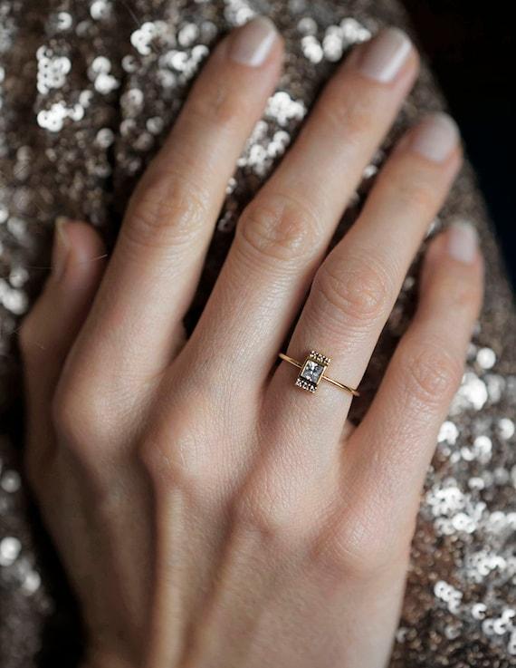 Princess Diamond Ring, Princess Cut Engagement Ring, Diamond Engagement Ring  With Pave Diamonds,