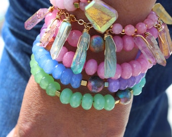 Unicorn wrap bracelet, bright pastel jade and agate beads, gorgeous spiral form.