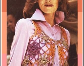 Corchet Pattern - Motif vest sweater - Web vest - vintage pattern - PDF Instant Download - womans lacy hippie vest - Mesh Beach Cover Top