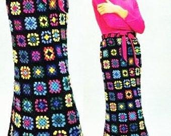 Crochet Pattern - Maxi Skirt - Granny Squares - Vintage Pattern - PDF Instant Download - Long Patchwork 70s Rainbow Skirt - Motif Crochet