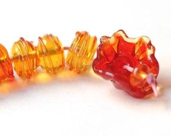 Glass Lampwork Bead - Orange Red Flower, Organic shape - 8 Beads Set