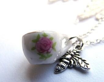 Tiny pink rose teacup necklace