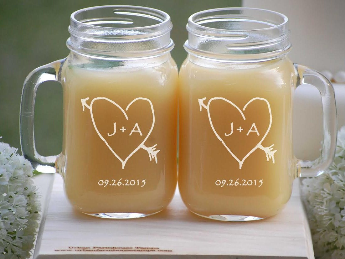 Toasting glasses etched mason jar glasses rustic wedding - Mason jar goblets ...