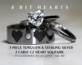 Legend Of Zelda Inspired 8 Bit Hearts- Tungsten CZ and 925 Sterling Silver 1.25 Carat TW CZ Heart Wedding Ring 3 piece Set, 8mm Men's ring