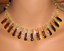 1950s, Czech Necklace of Pale Yellow Czech Glass and Bronze Enamel, 1950s Jewelry, 1940s Czech Necklace, Unique 1950s Brown Glass Necklace