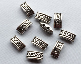 24 pc 2 Hole Spacer Bead 10mm Pewter Antique Silver BULK Wholesale - PBF098
