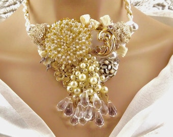 Couture Wedding Necklace,Statement Necklace,Gold&White-Bib Necklace,Choker,Jewelry,Assemblage,Fresh Water Pearls,Necklace,Big Bold Jewelry