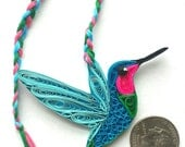 Unique paper quilled Rufous/red breasted /throated Hummingbirds(3x2.5 inches) charm bookmark mobile christmas ornament wall art decor