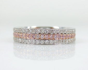 Three row attached White & Pink Diamond Eternity Band
