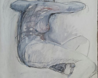 """Black and White Oil Painting Figure Painting,Figure Drawing, title: """"Seated Woman"""""""